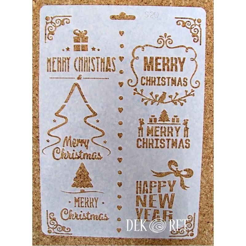 SZABLON ŚWIĄTECZNY 17,5x25,5 CM  - MERRY CHRISTMAS