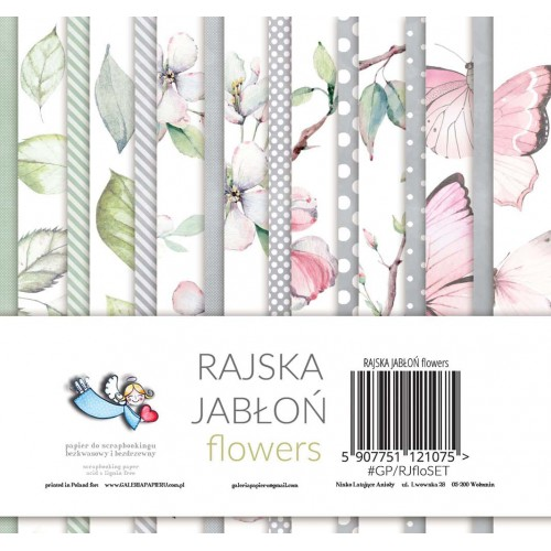 BLOCZEK  15 X 15 CM - RAJSKA JABŁOŃ FLOWERS