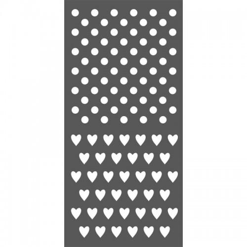 SZABLON  3D 12x25 cm KROPKI I SERDUSZKA
