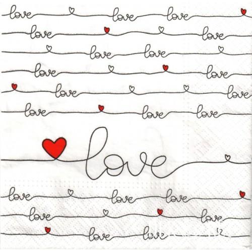 SERWETKA - NAPISY LOVE, CZERWONE SERDUSZKA