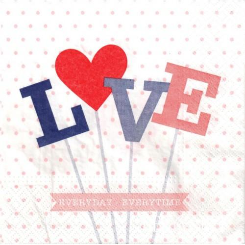 SERWETKA - LOVE, CZERWONE SERCE