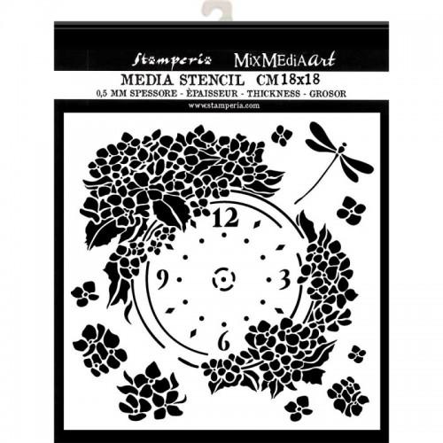 SZABLON  3D 18x18 CM HORTENSJA, TARCZA ZEGAROWA