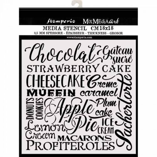 SZABLON  3D 18x18 CM SWEETY NAPISY CHOCOLATE CAKE