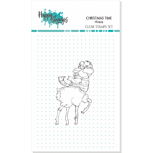 HAPPY SCRAP STEMPEL CHRISTMAS TIME, LAMA W SZALIKU