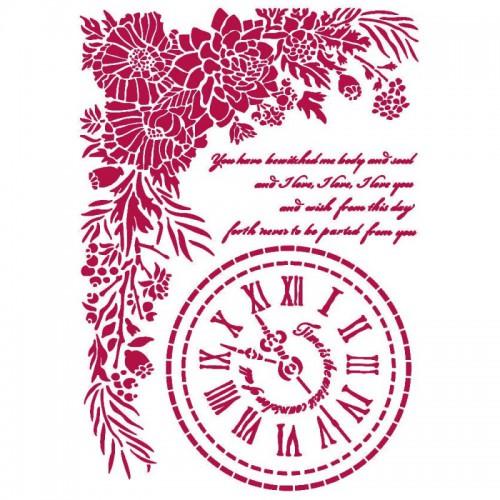 STAMPERIA SZABLON 21x29,7 cm JOURNAL ZEGAR, KWIATY