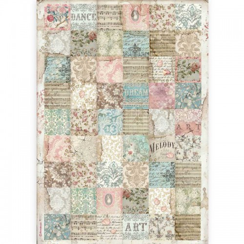 STAMPERIA PAPIER RYŻOWY A3 PASSION PATCHWORK