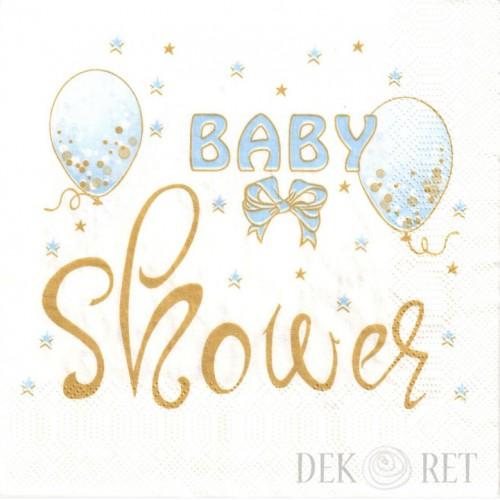 SERWETKA - NIEBIESKIE BALONY, BABY SHOWER