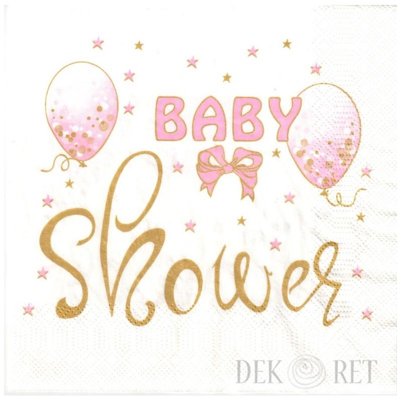 SERWETKA PACZKA - RÓŻOWE BALONY, BABY SHOWER