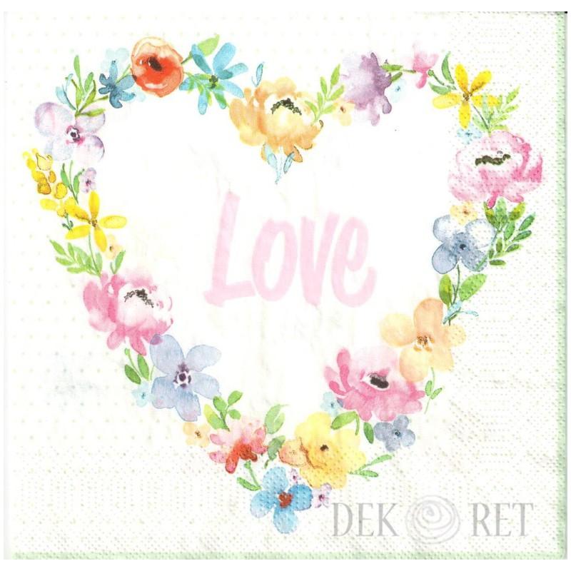SERWETKA - SERCE Z KWIATÓW, LOVE