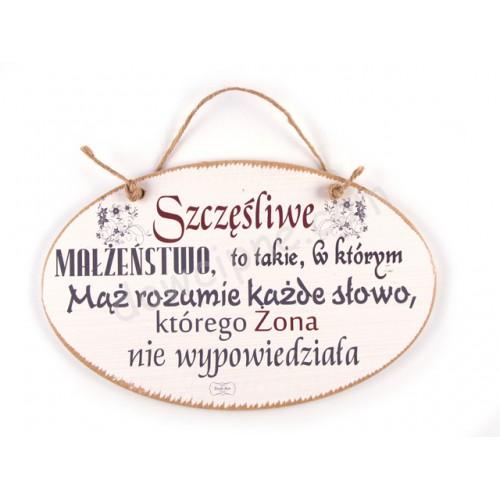 TABLICZKA OWAL14x23 cm  Szczęśliwe małżeństwo...