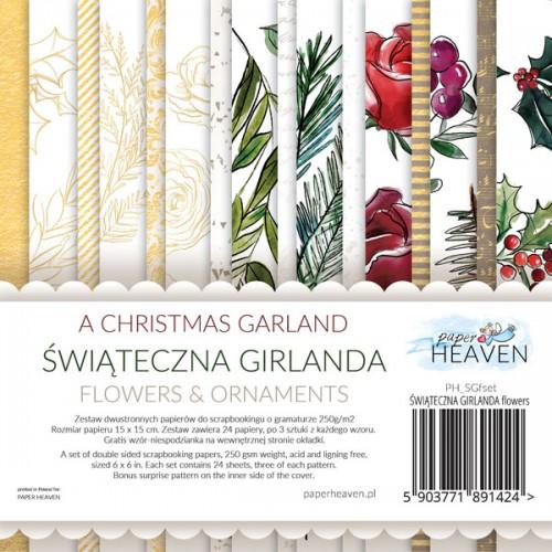 BLOCZEK  15 X 15 CM   ŚWIĄTECZNA GIRLANDA  - FLOWERS