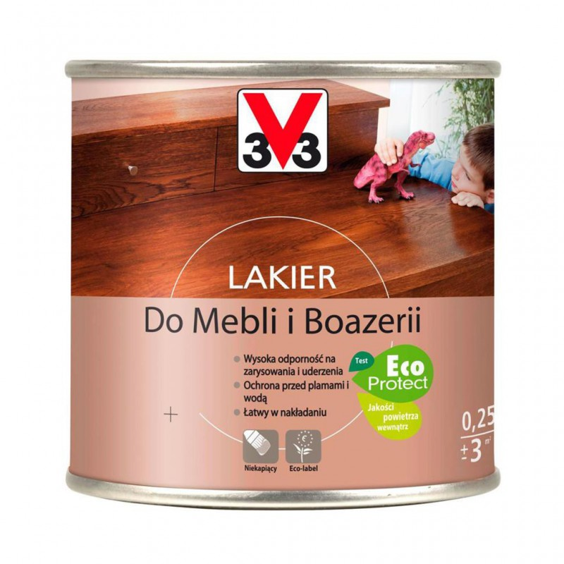 LAKIER V33 SATYNOWY - DĄB ŚREDNI 0,25L
